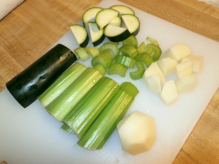 Diced vegetables for soup