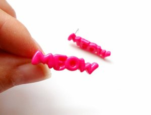 bright pink meow earrings by Sweetiepips